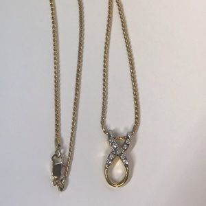 "Crystal Cancer Bow Pendant 18"" Gold tone Chain"